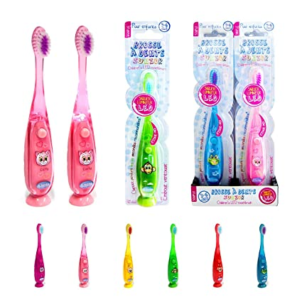 Cepillo de dientes infantil para niño con luz LED, color amarillo