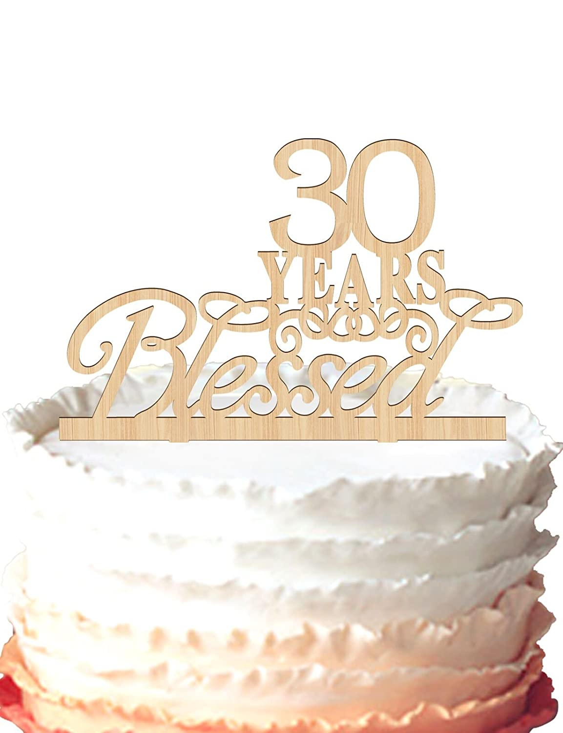 Superb 30 Years Blessed Cake Topper 30Th Birthday Cake Topper 30 Personalised Birthday Cards Cominlily Jamesorg