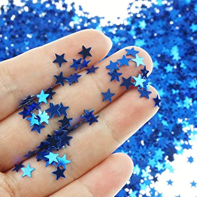 Star Confetti Holographic Stars Glitter Confetti for Christmas Decoration, Wedding Party Supplies and Nail Art - Navy, 6mm, Pack of 30 Grams: Health & Personal Care