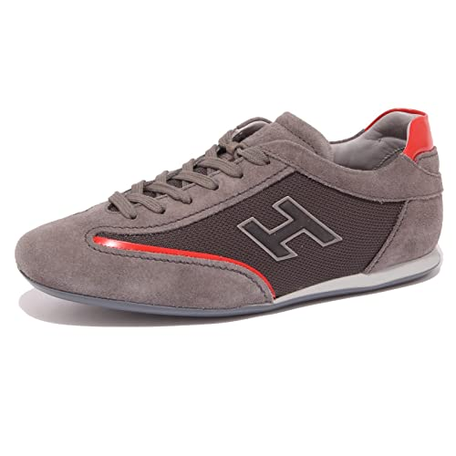 Hogan 4466Q Sneaker Uomo Olympia Slash H Flock Blu/Marrone Shoe Men [5]