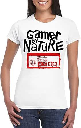 White Female Gildan Short Sleeve T-Shirt - Gamer By Nature design
