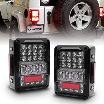 Amazon.com: COWONE LED Tail Lights [4D Reverse Lights] Compatible with Jeep Wrangler  JK/JKU 2007-2018 Rear Light Back Up Lights Daytime Running Lamps  Replacement DOT Approved: AutomotiveAmazon.com
