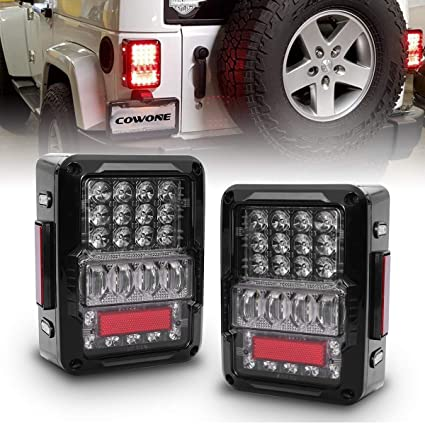 Jeep Wrangler Led Tail Lights >> Amazon Com Cowone 2019 Newest Led Taillights Brake Light For 2007