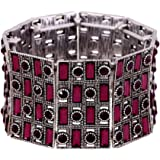 """D EXCEED Jewelry Statement Vintage Paved Crystal Wide Stretch Cuff Bangle Bracelet for Women 7"""""""