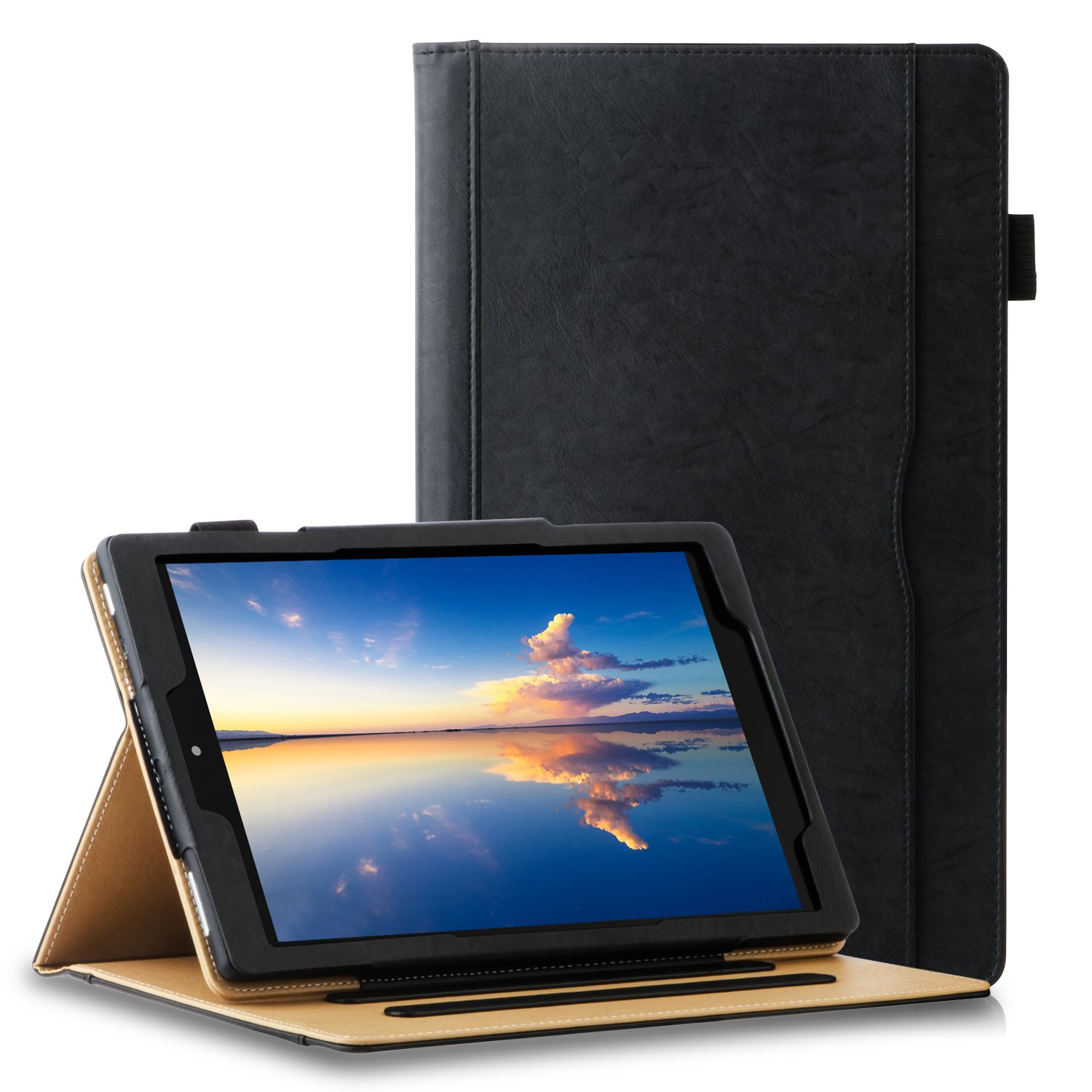 All New HD 10 Tablet Case(7th Generation,2017 Release),ZTOZ Multi-Angle Viewing Slim Folio Stand Premium Leather Business Cover Cases With Pocket and Pencil Holder - Black