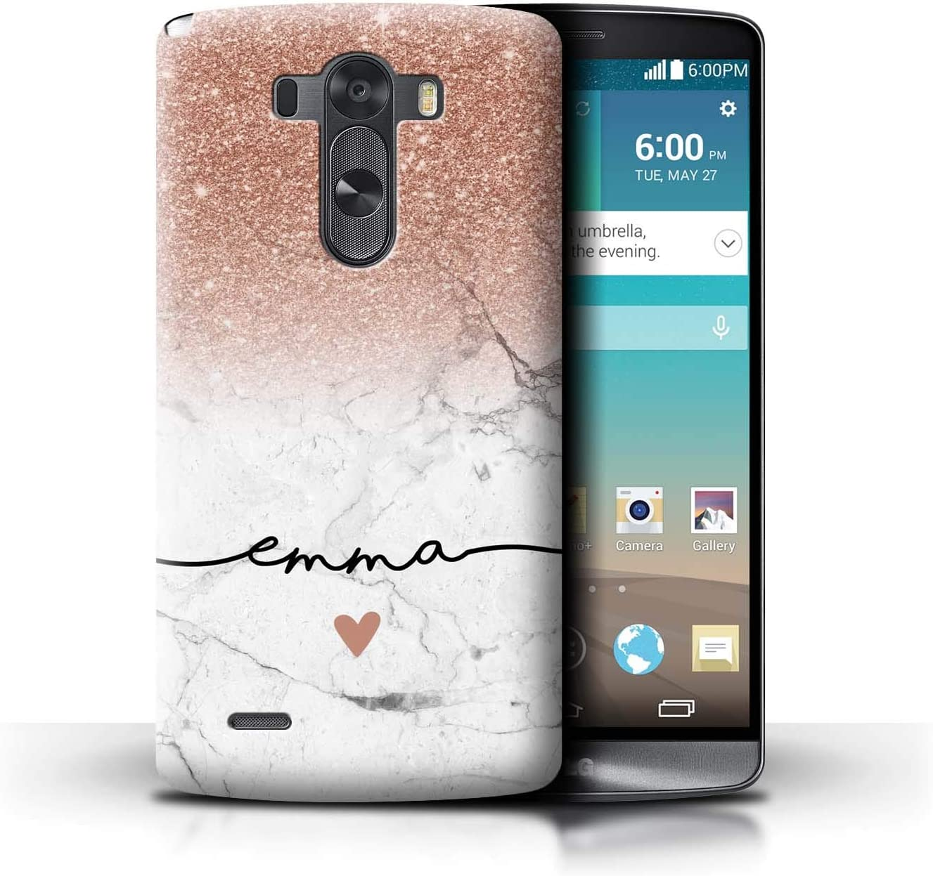 Personalized Custom Handwriting Glitter Ombre Case for LG G3/D850/D855 / Rose Gold Sparkle White Marble Design/Initial/Name/Text DIY Cover