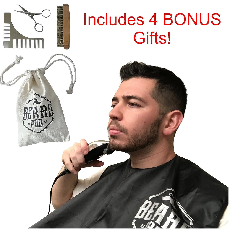 BeardPro Beard Shaving Bib Apron Hair Catcher w/Suction Cups Includes Bonus Accessories - Shaping Template Comb Shaper Tool Bamboo Brush Trimming Scissors Box and Carrying Bag