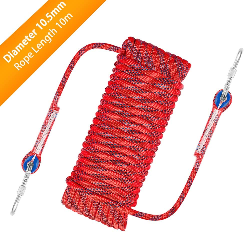 Outdoor Climbing Rope 10.5 mm Diameter Outdoor Hiking Accessories High Strength Cord Safety Rope 10M 32ft Static Rock Climbing Rope Fire Escape Safety Rappelling Rope w//Carabiner