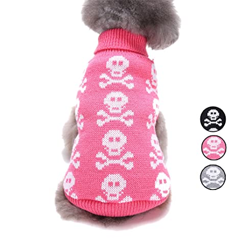 HongYH Punto cráneo Dog Sweater, 3 Modelos Fiesta Halloween Navidad Mascota Ropa, Prendas de
