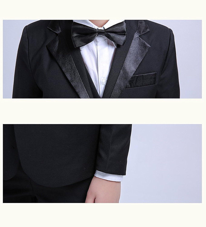 5 Stück Jungen Formelle Blazer Kinder Smoking Shirt Weste Hochzeit Anzug  Schwarz bd37a37696e7