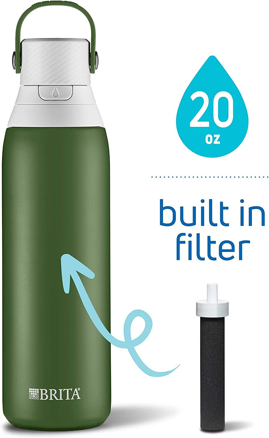 Brita 20 Ounce Premium Filtering Water Bottle with Filter - Double Wall Insulated Stainless Steel Bottle - BPA Free - Forest and Assorted Colors