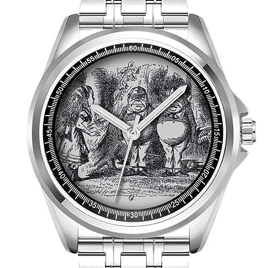 Reloj de Pulsera Personalizado para Hombre, a la Moda, Resistente al Agua, con Diamantes de 089.Alicia en el país de Las Maravillas: Amazon.es: Relojes