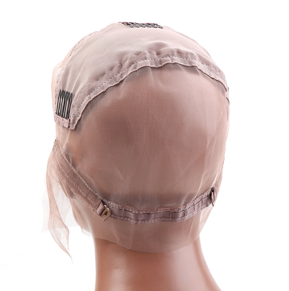 Bella Hair Glueless Full Lace Wig Cap for Making Wigs with Adjustable Straps and Combs (Large Size Cap)