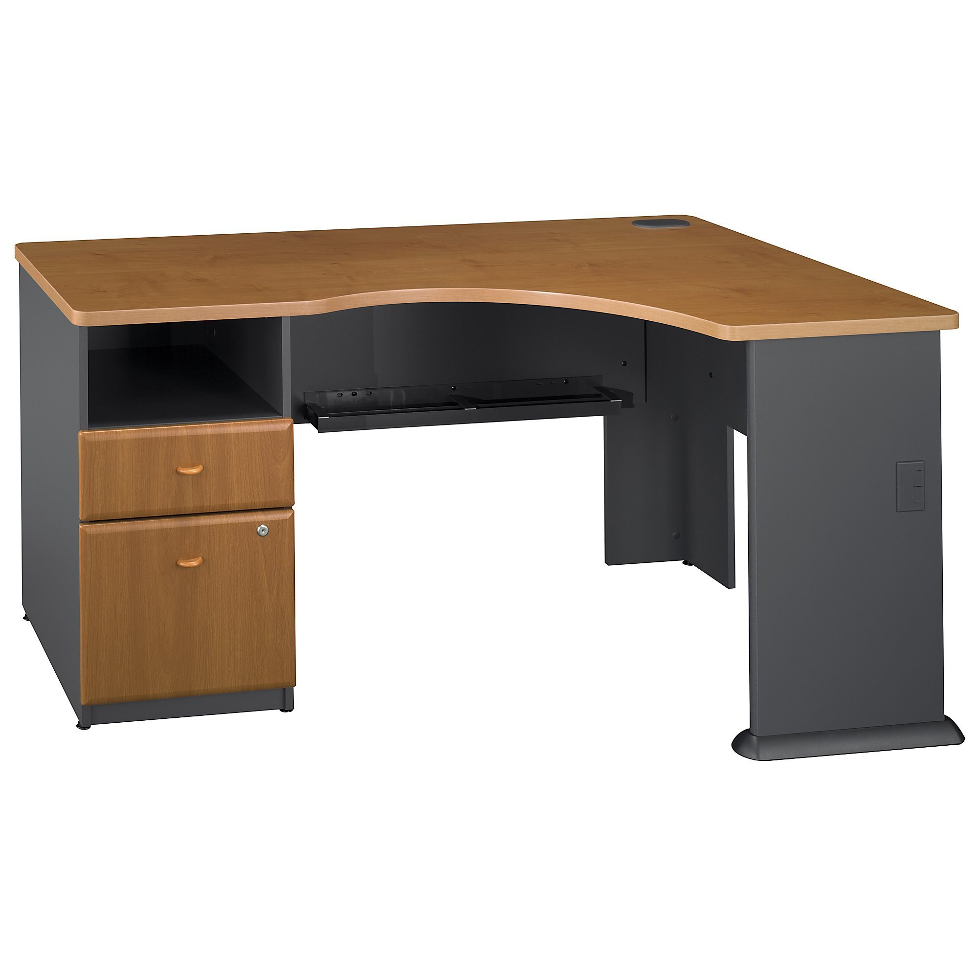 Bush Business Furniture Series A Single 2 Drawer Pedestal Corner Desk, Natural Cherry by Bush Business Furniture