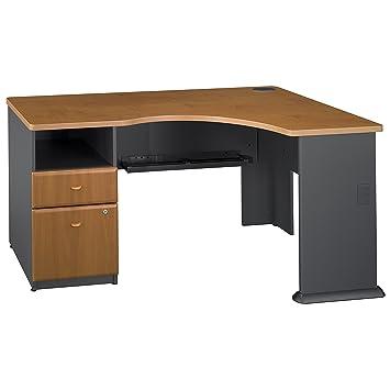 Bush Business Furniture Series A Single 2 Drawer Pedestal Corner Desk, Natural  Cherry