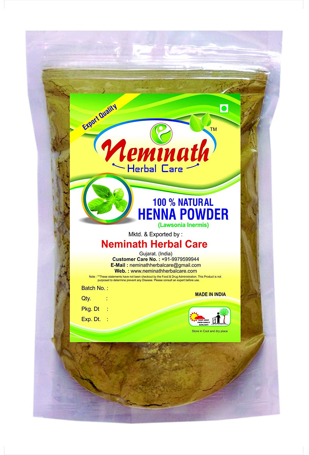 100% Natural Henna Leaves (LAWSONIA INERMIS) Powder for COVERING GRAY  HAIRS