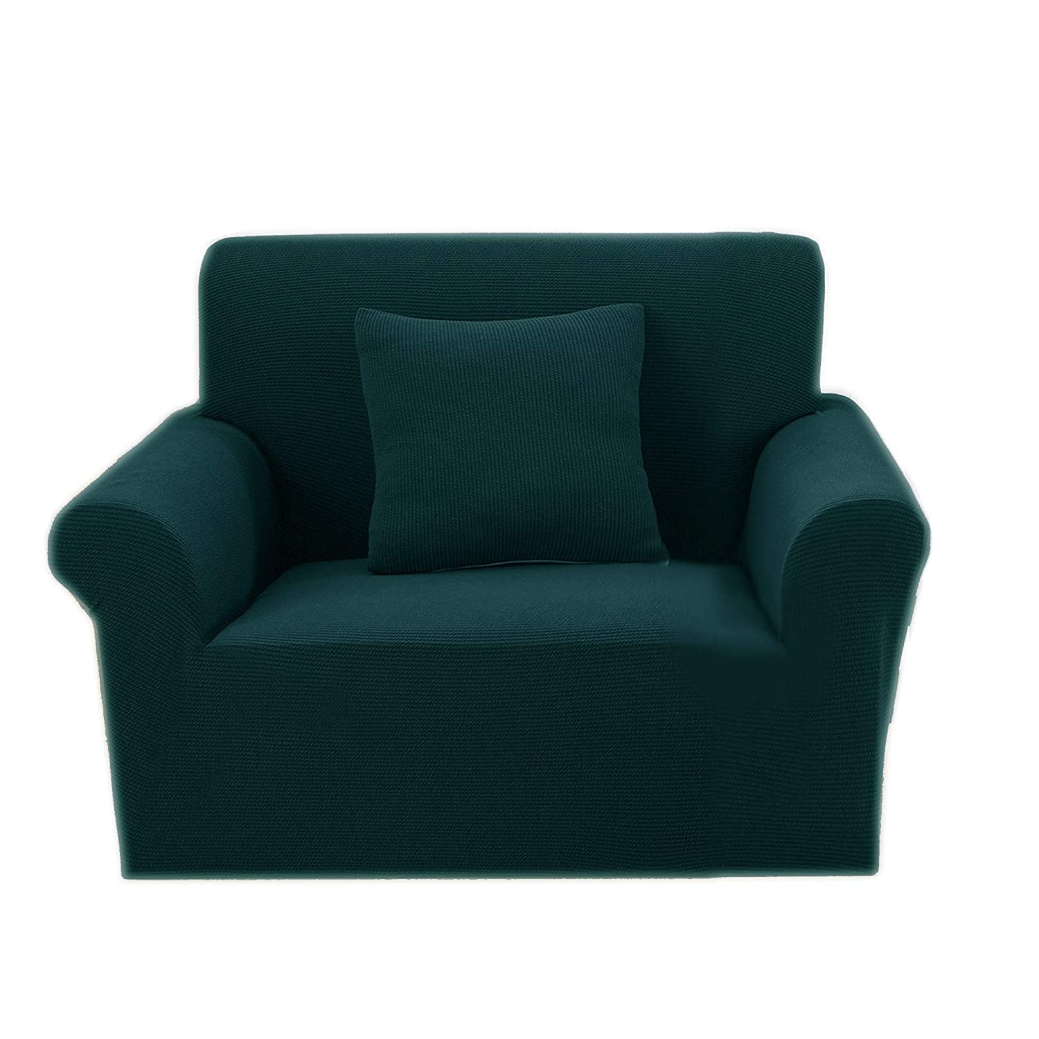 Premium Knit Chair Cover Elastic Slipcover For Armchair Furniture Protector Dark Green