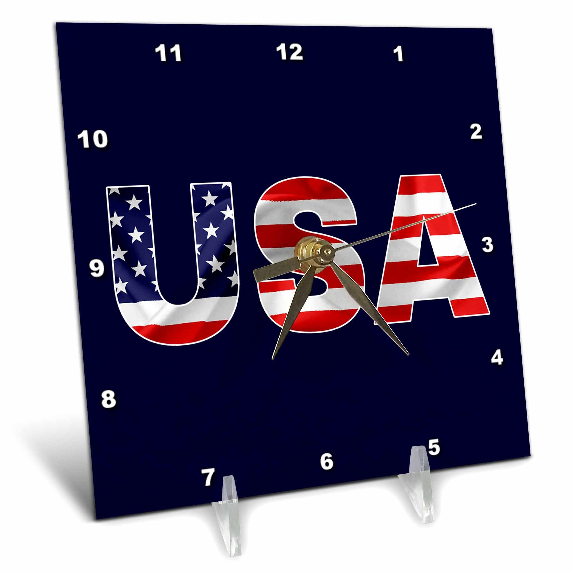 3dRose Alexis Design - America - USA text, the American Flag over the letters. Blue background - 6x6 Desk Clock (dc_270651_1)