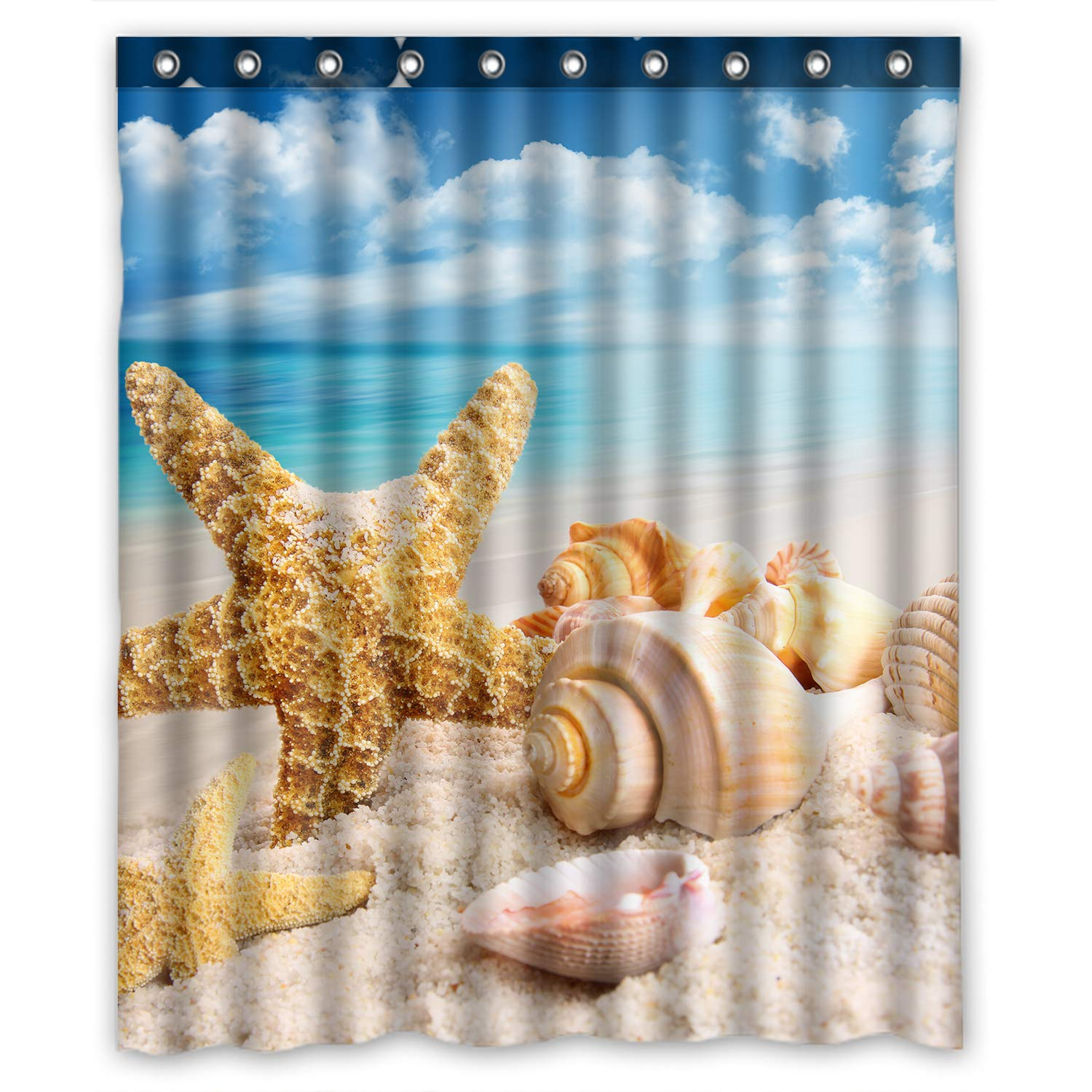 Amazon FMSHPON Blue Sea And Seashell Waterproof Polyester Fabric Shower Curtain 60 X 72 Inches Home Kitchen