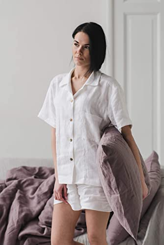 Stone washed linen pajamas Organic linen pyjamas set. Women\u2019s linen sleepwear Linen PJ\u2019s Light blue women\u2019s homewear Linen PAJAMAS set