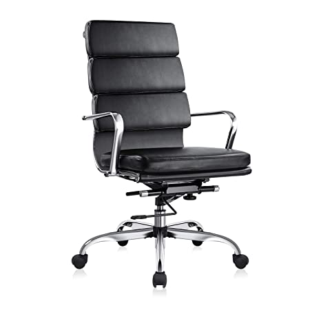 MDL Furniture Executive Office Chair High Back Ribbed Office Chair Soft Thick Padded Office Desk Chair Sturdy Chrome Frame Swivel Chair Bonded Leather Black