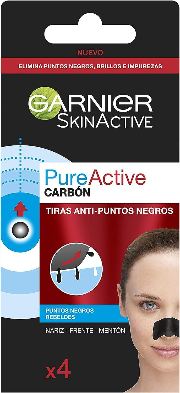Garnier Skin Active - Pure Active Tiras de Carbón Anti Puntos Negros, Espinillas y Poros de la Nariz, 4 Tiras
