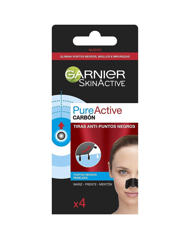 Garnier Skin Active PureActive Tiras de Carbón Anti Puntos Negros, Espinillas y Poros de la Nariz - 4 Tiras