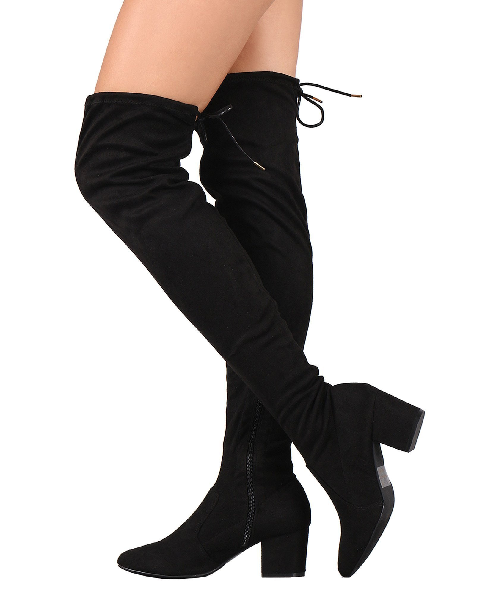 RF ROOM OF FASHION Women's Suede Drawstring Tie Block Heel Over The Knee Boots Black (8)