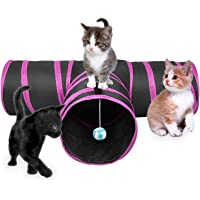 Mumoo Bear Cat Tunnel Toy, Collapsible 3 Way Fun Run Entertained Exercising and Playing Cat Toy