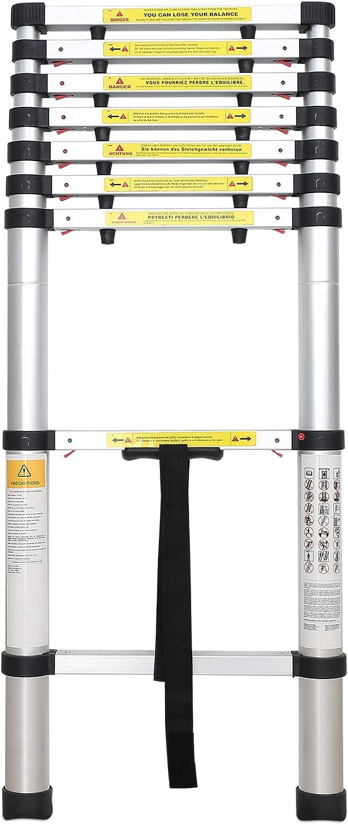 Escalera Plegable Carga m/áxima: 150 kg Sotech Escalera Telesc/ópica EN 131 s Est/ándar//Certificaci/ón: EN131 3,8 Metro