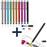 LIBERRWAY Stylus Pen 10 Pack for Universal Touch Screen + Disc Stylus Fiber Stylus 2 in 1 with Magnetically Attached Cap Black