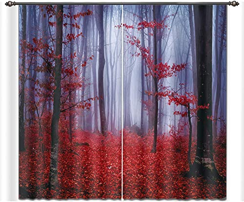 LB Teen Kids Decor Collection,2 Panels Room Darkening Blackout Curtains,Maple Leaves Fall Scenery 3D Window Treatment Curtains Living Room Bedroom Window Drapes,28 by 65 inch Length