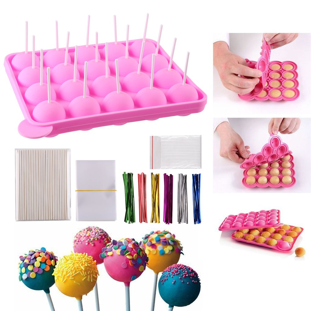 CCINEE Silicone Lollipop Mould Set for Muffins Lollipops Cupcakes Brownies Chocolate Candies,Package Include 1*20 Balls Silicone Muffin Cupcake Lollipop Tray+ 60*3x4