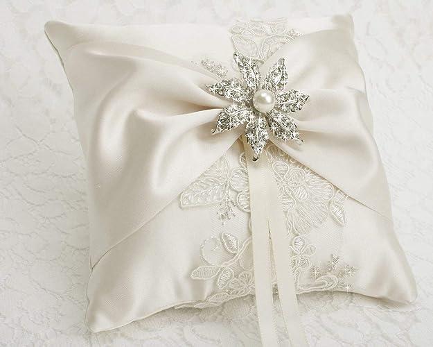 Amazon Com Wedding Ring Bearer Pillow Detail Lace Ring Pillow