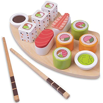Imagination Generation I Love Sushi | 14-Piece Wooden Sushi Serving Tray Playset Includes Rolls, Sashimi, Chopsticks, and Wasabi | Play Food for Pretend Kitchens: Toys & Games