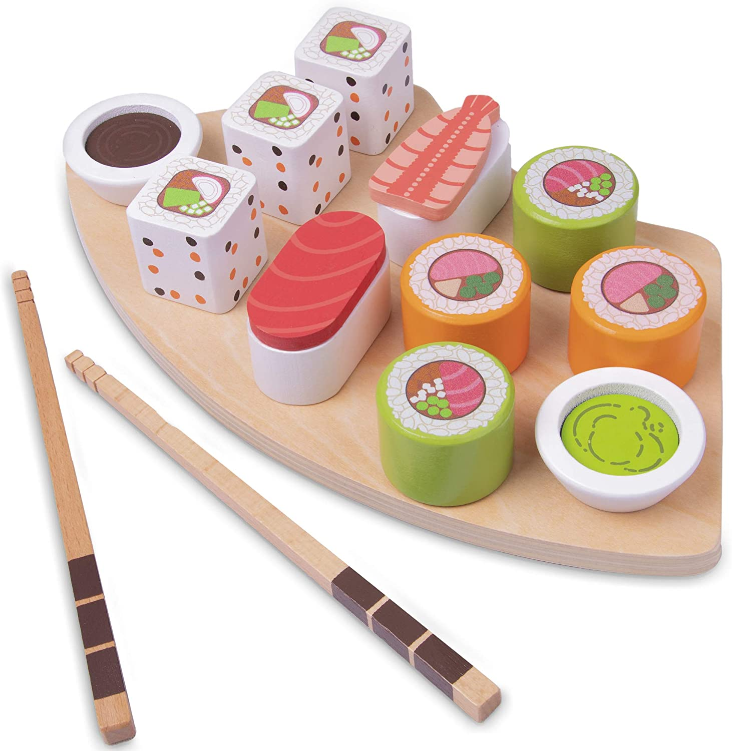 Imagination Generation I Love Sushi | 14-Piece Wooden Sushi Serving Tray Playset Includes Rolls, Sashimi, Chopsticks, and Wasabi | Play Food for Pretend Kitchens
