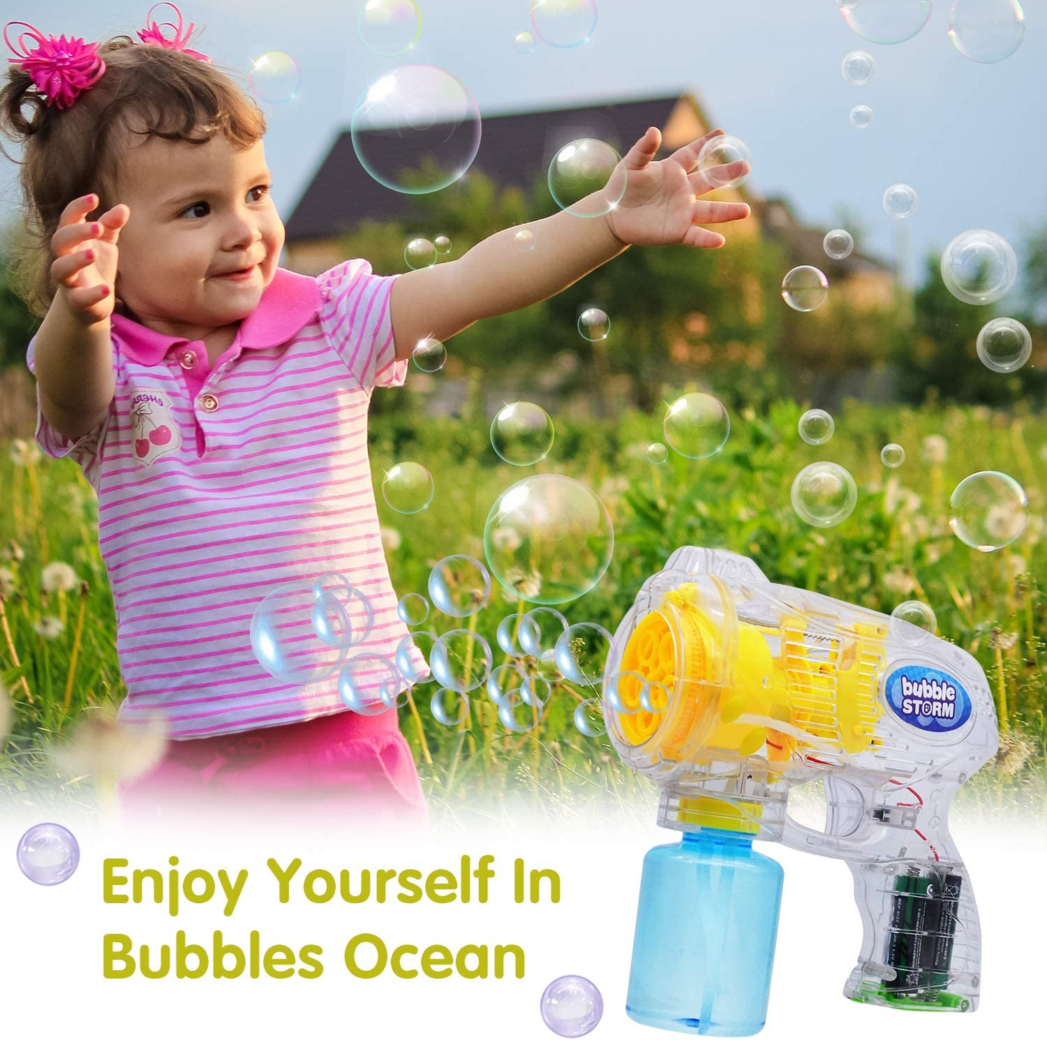 Birthday Summer Toy Outdoor /& Indoor Activity Easter Bubble Blower for Bubble Party Favors JOYIN 3 Bubble Guns Blaster Kit Automatic Bubble Maker Blower Machine with 3 Bubble Solutions for Kids