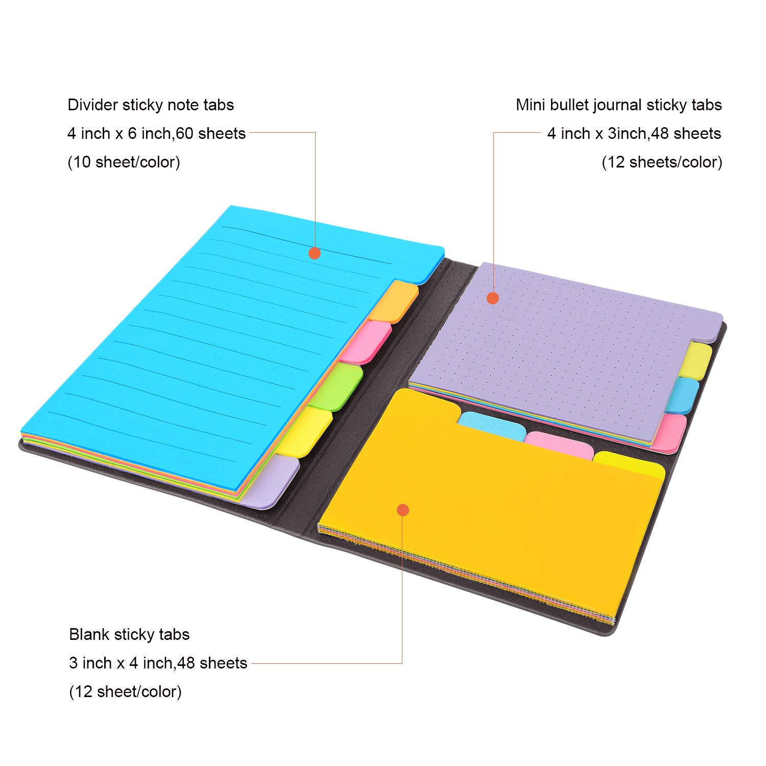 Divider Sticky Notes Bundle Set (2 Pack), Tabbed Self-Stick Lined Note Bookmark Prioritize with Color Coding, 60 Ruled (4x6), 40 Dotted (3x4), 40 Blank (2.7x4.2) -140 per Tab Sticky Notes