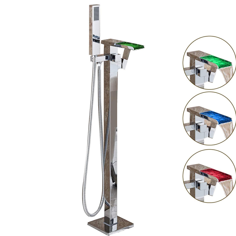 Suguword LED cascade Baignoire sur pied Baignoire robinet mitigeur de baignoire robinet avec douchette de salle de bain robinet Chromé