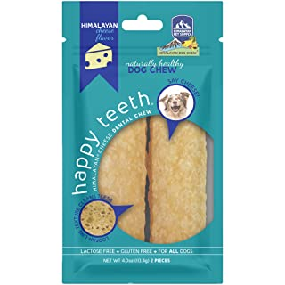 Himalayan Pet Supply Dental Dog Chew | Happy Teeth Natural Cheese Dog Chews | Dental Chew | Stain Free - Protein Rich - Low Odor | Gluten Free - Lactose Free - Grain Free | 2 Chews Per Pouch, Large, Model:859552003744