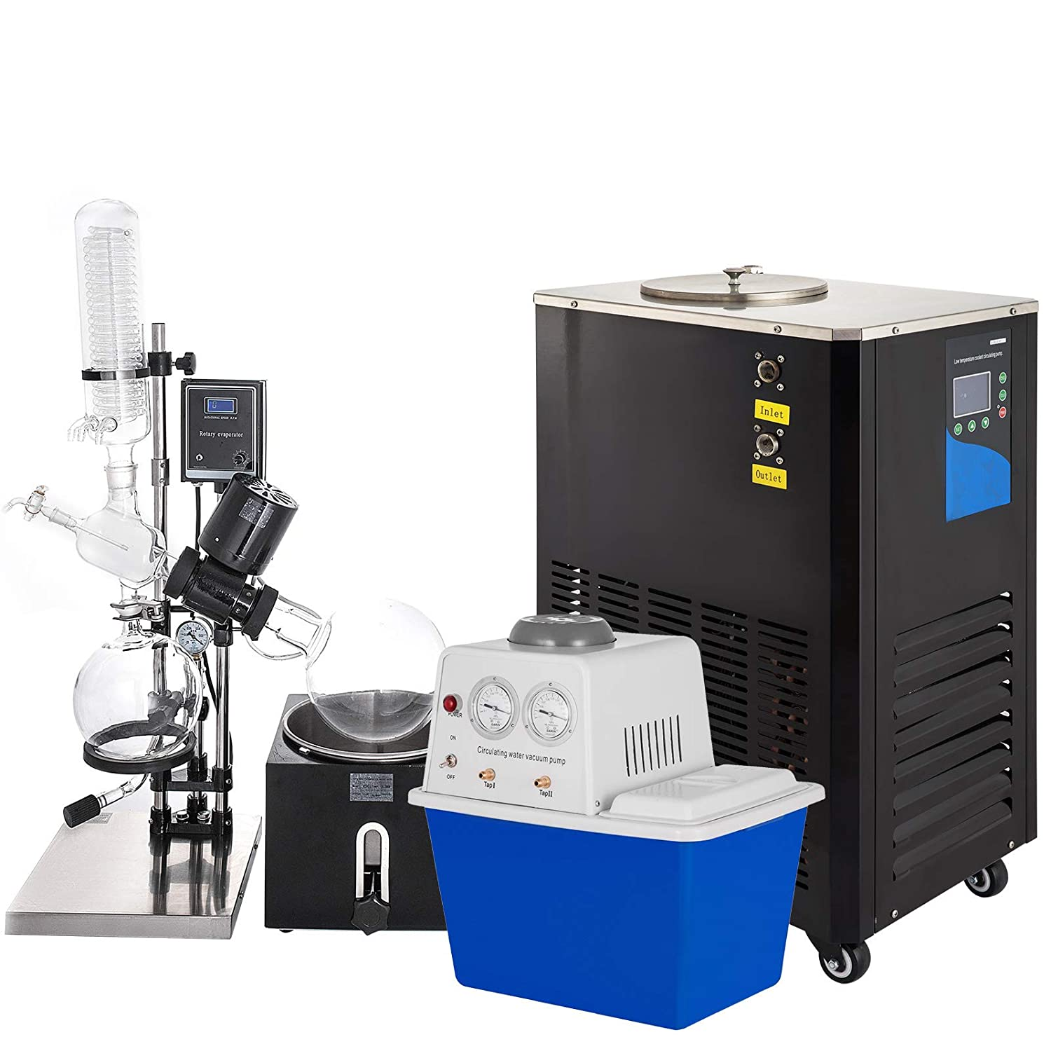 VEVOR 5L Rotary Evaporator 0-90rpm,Rotary Evaporator kit with Vacuum Pump and Chiller,with Manual Lift 0-180°C 0.098mpa,for The Chemical Industry(Black)