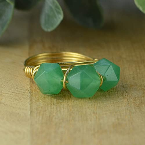 Green Aventurine Crystal Wire Wrapped Ring