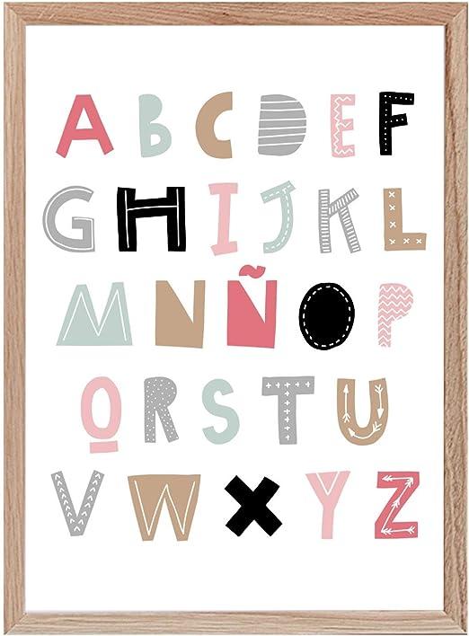 Papers Rain Lámina abecedario Infantil 30x40 para enmarcar. -White- Se envía Desde España: Amazon.es: Hogar