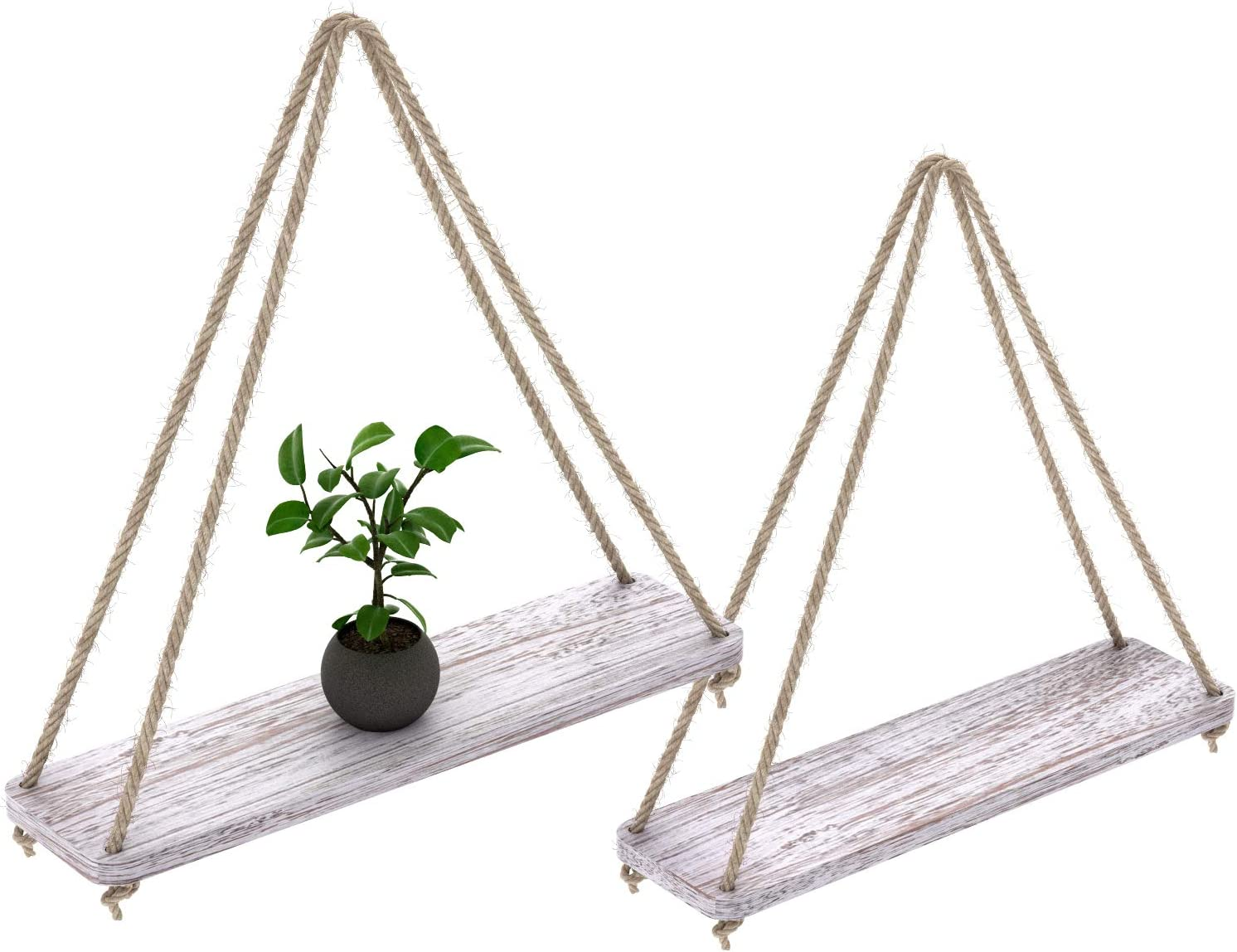 Comfify Set of 2 Floating Shelves with String - Rustic White ...