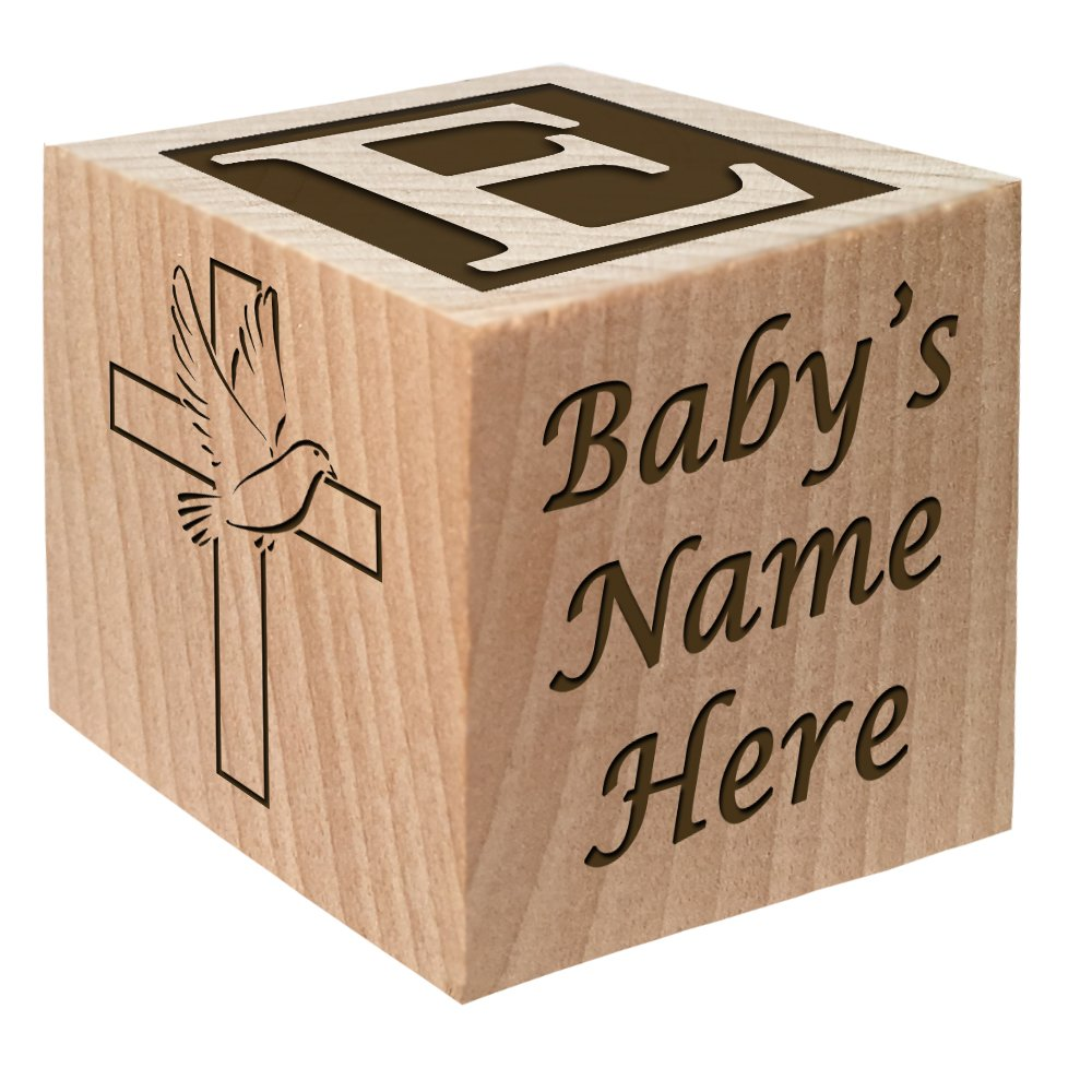 Baptism Gift - Christening Gift - Personalized Baby Block Baptizm Gift Custom Engraved Wooden Baby Block for Boy & for Girl Keepsake from Godparent Godmother Christen Communion Catholic Glitzby
