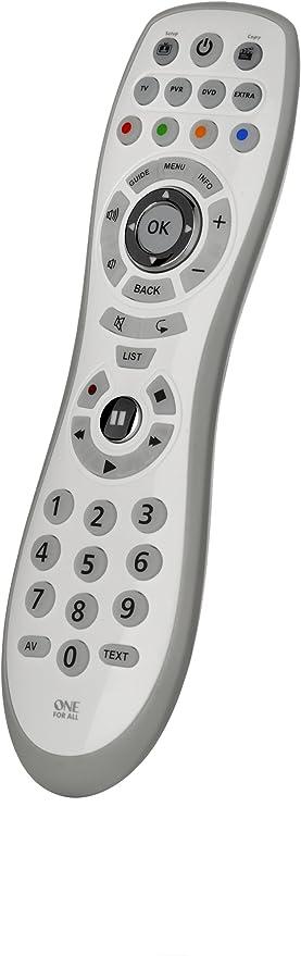 One For All/URC6440 - Mando a distancia Universal Simple 4, Control remoto universal para 4 dispositivos TV, TDT (Sat, decodificador/cable), DVD/Blu-ray y Audio, Actualizable via Internet, Blanco: ONE FOR ALL: Amazon.es: Electrónica