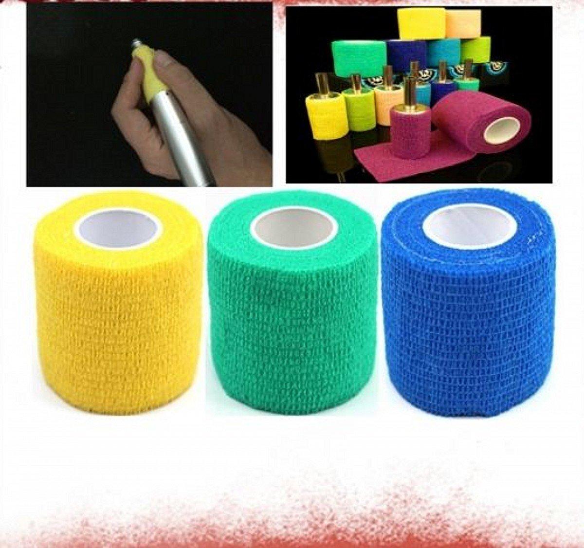 WellieSTR 3pc Medical gauze bandage permanent makeup pen stainless tattoo machine grip kit (random color) Ltd