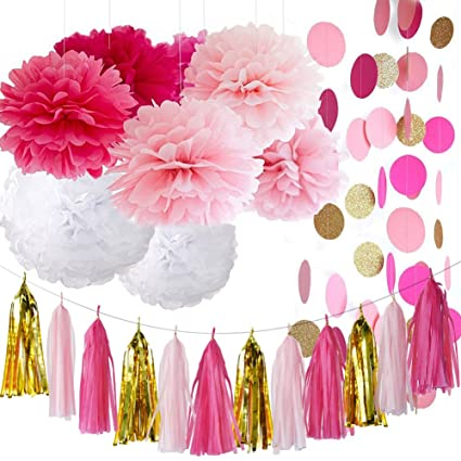 valentine decorations bachelorette party decorations fuchsia pink gold bridal shower decorations tissue paper tassel garland tissue
