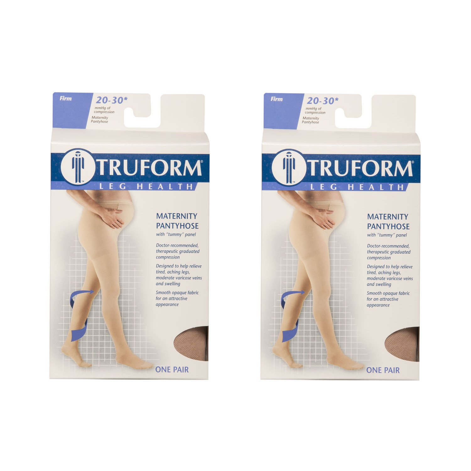 Truform Maternity 20-30 mmHg Compression Pantyhose Beige, Tall, 2 Count