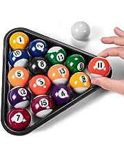 "Mini Pool Balls & Triangle Bundle   1.5"" Balls Fit Tabletop & Freestanding Miniature Billiards Tables   Real Resin Balls Perform Like Full Size Balls"